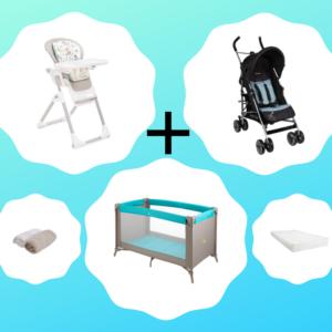 Pack location composé d'une chaise haute, d'une poussette et d'un lit parapluie
