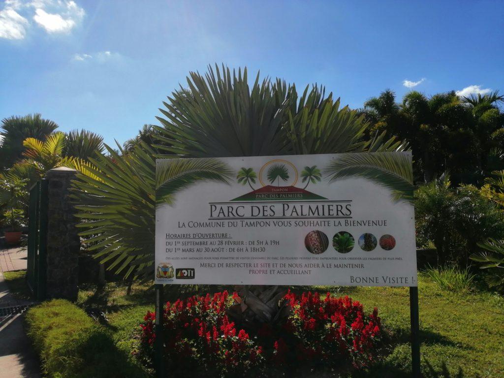 Entrée parc des palmiers au tampon