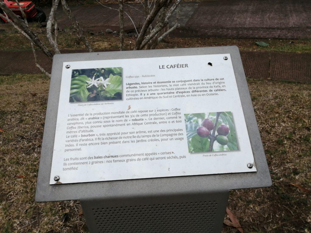 Pancarte signalétique au jardin botanique de la Réunion