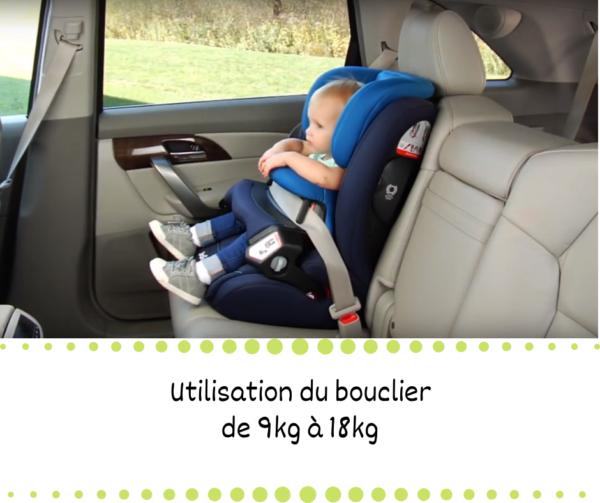 Installation dans le siège auto à bouclier