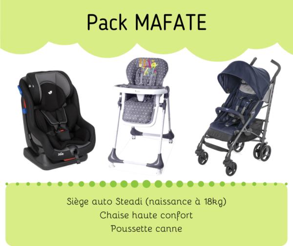 Pack Mafate : location siège auto, chaise haute, et poussette